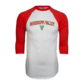 State White/Red Raglan Baseball T-Shirt-Arched Mississippi Valley