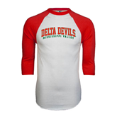 State White/Red Raglan Baseball T-Shirt-Arched Delta Devils