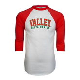 State White/Red Raglan Baseball T-Shirt-Arched Valley Delta Devils