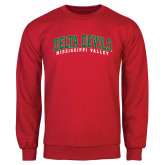 State Red Fleece Crew-Arched Delta Devils