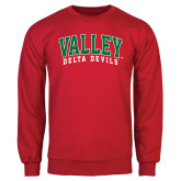 State Red Fleece Crew-Arched Valley Delta Devils