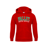 State Youth Red Fleece Hoodie-Arched Valley Delta Devils