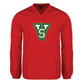 State V Neck Red Raglan Windshirt-VS