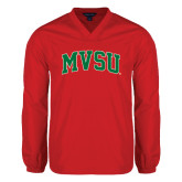 State V Neck Red Raglan Windshirt-Arched MVSU