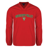 State V Neck Red Raglan Windshirt-Arched Mississippi Valley