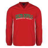 State V Neck Red Raglan Windshirt-Arched Delta Devils