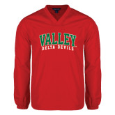 State V Neck Red Raglan Windshirt-Arched Valley Delta Devils