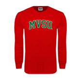 State Red Long Sleeve T Shirt-Arched MVSU