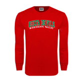 State Red Long Sleeve T Shirt-Arched Delta Devils
