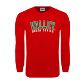 State Red Long Sleeve T Shirt-Arched Valley Delta Devils