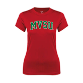State Ladies Syntrel Performance Red Tee-Arched MVSU