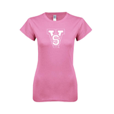 State Next Level Ladies SoftStyle Junior Fitted Pink Tee-VS