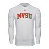 State Under Armour White Long Sleeve Tech Tee-Arched MVSU