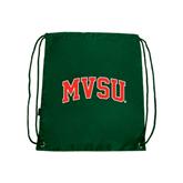 State Dark Green Drawstring Backpack-Arched MVSU