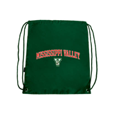 State Dark Green Drawstring Backpack-Arched Mississippi Valley