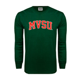 State Dark Green Long Sleeve T Shirt-Arched MVSU
