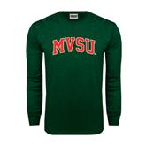 State Dark Green Long Sleeve T Shirt-Arched MVSU