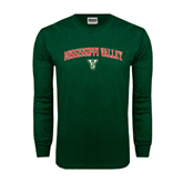 State Dark Green Long Sleeve T Shirt-Arched Mississippi Valley