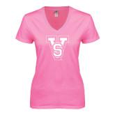 State Next Level Ladies Junior Fit Deep V Pink Tee-VS