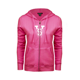 State ENZA Ladies Fuchsia Fleece Full Zip Hoodie-VS