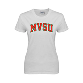State Ladies White T Shirt-Arched MVSU