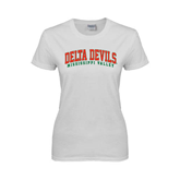 State Ladies White T Shirt-Arched Delta Devils
