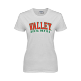 State Ladies White T Shirt-Arched Valley Delta Devils