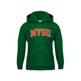 State Youth Dark Green Fleece Hood-Arched MVSU