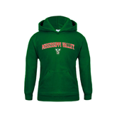 State Youth Dark Green Fleece Hoodie-Arched Mississippi Valley