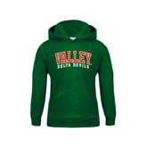 State Youth Dark Green Fleece Hood-Arched Valley Delta Devils