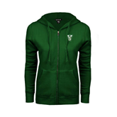 State ENZA Ladies Dark Green Fleece Full Zip Hoodie-VS