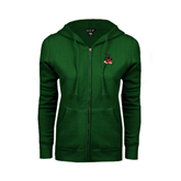 State ENZA Ladies Dark Green Fleece Full Zip Hoodie-Devils