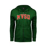 State ENZA Ladies Dark Green Fleece Full Zip Hoodie-Arched MVSU