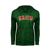 State ENZA Ladies Dark Green Fleece Full Zip Hoodie-Arched Delta Devils