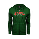 State ENZA Ladies Dark Green Fleece Full Zip Hoodie-Alumni