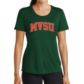 State Ladies Performance Dark Green Tee-Arched MVSU