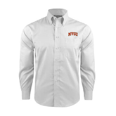 State Red House White Long Sleeve Shirt-Arched MVSU