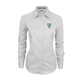State Ladies White Twill Button Down Long Sleeve-VS