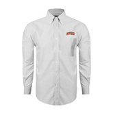 State Mens White Oxford Long Sleeve Shirt-Arched MVSU