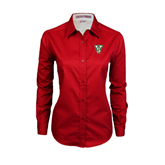 State Ladies Red Twill Button Down Long Sleeve-VS