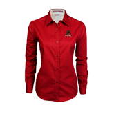 State Ladies Red Twill Button Down Long Sleeve-Devils