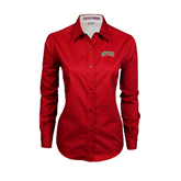 State Ladies Red Twill Button Down Long Sleeve-Arched MVSU