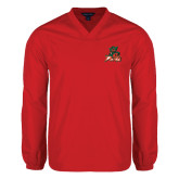 State V Neck Red Raglan Windshirt-Devils