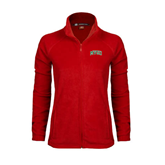 State Ladies Fleece Full Zip Red Jacket-Arched MVSU