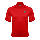 State Red Textured Saddle Shoulder Polo-VS