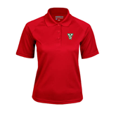 State Ladies Red Textured Saddle Shoulder Polo-VS