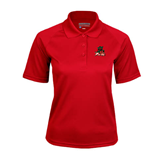 State Ladies Red Textured Saddle Shoulder Polo-Devils