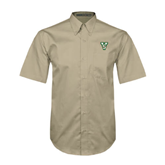 State Khaki Twill Button Down Short Sleeve-VS