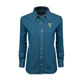 State Ladies Denim Long Sleeve Shirt-VS
