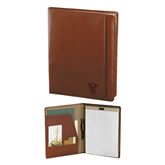 State Cutter & Buck Chestnut Leather Writing Pad-VS Engrave